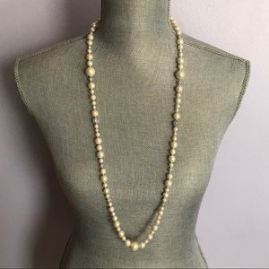 Carolee Faux Pearl and Crystal Beaded Necklace.